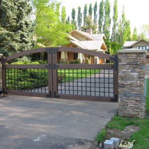 a4simulatedwooddrivewaygate Stratford gate systems